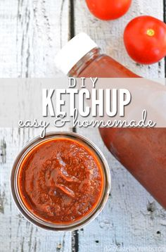 A simple and delicious easy recipe for homemade ketchup using fresh tomatoes.  With a slow cooker, it's incredibly easy and you control the sweetness! Nothing artificial and beats the junk added to store-bought ketchup!:: DontWastetheCrumbs.com