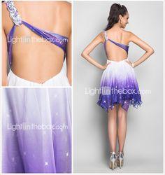 A-line One Shoulder Short/Mini Chiffon Cocktail/Prom Dress - USD $ 69.99