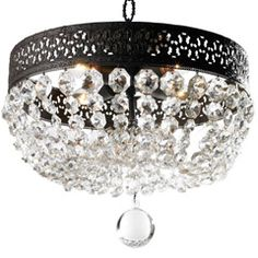 """Canopy Designs one-of-a-kind collection reintroduces Italian and French influences to the home. The Lana chandelier offers classic elegance to a living room or foyer. From a cut, black round frame, gorgeous crystal beads delight in a hanging draped design. Accepts four 100W max bulbs (not included). Frame made from steel. Chain and canopy included. Hardwired. 15""""W x 15""""H. Chain: 3'L."""