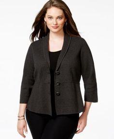 Alfani Plus Size Shawl-Collar Sweater Jacket, Only at Macy's ...