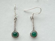 $23 Green Onyx Sterling Silver Earrings, info@bijuterie-online.ro.
