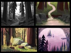 environments, forrest, comic, cartoon, illustration, Gravity Falls