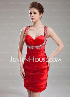 Homecoming+Dresses+-+$106.99+-+Sheath+Sweetheart+Short/Mini+Charmeuse+Homecoming+Dress+With+Ruffle+Beading+Sequins+(022003370)+http://jenjenhouse.com/Sheath-Sweetheart-Short-Mini-Charmeuse-Homecoming-Dress-With-Ruffle-Beading-Sequins-022003370-g3370