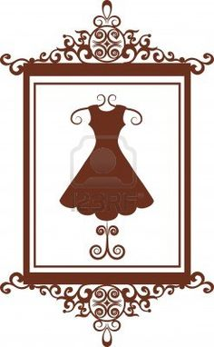 retro fashion boutique sign with dress , vector illustration Stock Photo