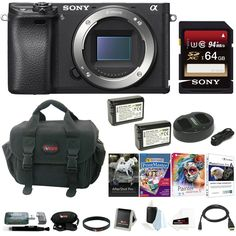 "Sony a6300 Mirrorless Digital Camera Body with 64GB SD Card and Battery. 24.2MP APS-C Exmor CMOS Sensor BIONZ X Image Processor XGA Tru-Finder 2.36m-Dot OLED EVF 3.0"" 921.6k-Dot Tilting LCD Monitor Internal UHD 4K30 & 1080p120 Recording S-Log3 Gamma and Display Assist Function Built-In Wi-Fi with NFC 4D FOCUS with 425 Phase-Detect Points Up to 11 fps Shooting and ISO 51200 Weather-Sealed Magnesium Alloy Body."