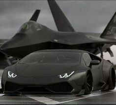 Lamborghini Huracan and f-22 raptor