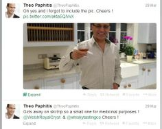 Theo Paphitis tweeting a picture of him in his kitchen holding his Welsh Royal Crystal personalised medicinal holder!