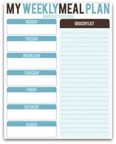 Print this FREE Meal Planning Printable to help you to plan our your family meals and take some of the stress out of mealtime for the holidays from She Saved.
