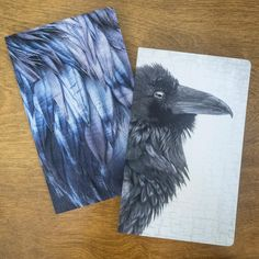 Small Notebook with Raven Feathers cover by June Hunter
