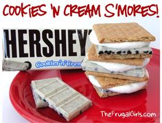 Cookies 'N Cream S'Mores!  {plus more S'Mores Recipes!!} ~ from TheFrugalGirls.com They're SO yummy!!  #smores #camping #recipes