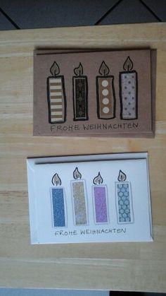 Für Kinder: Weihnachtskarte Kerzen mit Washi