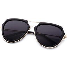 SheIn(sheinside) Metal Frame Double Bridge Black Lens Aviator... ($11) ❤ liked on Polyvore featuring accessories, eyewear, sunglasses, retro vintage sunglasses, vintage glasses, black lens aviator sunglasses, aviator sunglasses and retro sunglasses