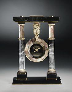 Cartier The Double Panther Portico Mystery Clock Unusual Clocks, Cool Clocks, Mystery Clock, Or Noir, Silver Teapot, Antique Clocks, Vintage Clocks, Objet D'art, Art Deco Design