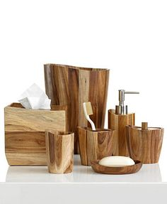 Kassatex Bath Accessories, Acacia Collection