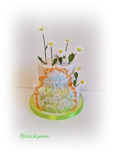 Hand painted daisies - cake by Blacksun Driving Miss Daisy, Daisy Cakes, Hand Painted Cakes, Daisy Painting, Daisies, Amazing Cakes, Cake Decorating, Goodies, Woman