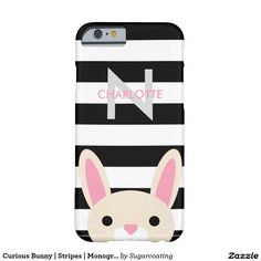 Curious Bunny   Stripes   Monogram Barely There iPhone 6 Case