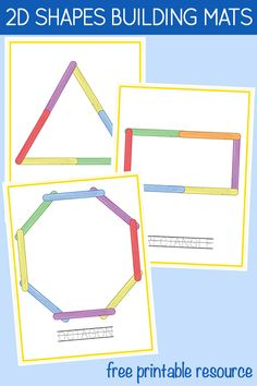 Printable 2D Shapes STEM Building Mats: Craft Stick Shapes