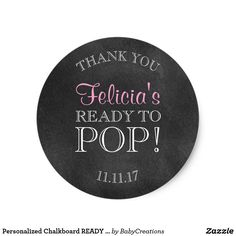 Personalized Chalkboard READY TO POP Baby Shower
