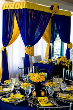 6 Stunning Wedding Palettes for Blue Wedding Decorations, Stage Decorations, Wedding Themes, 80th Birthday Decorations, Wedding Ideas, Decor Wedding, Wedding Table Settings, Wedding Chairs, Blue Yellow Weddings