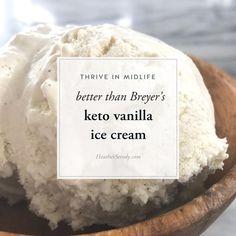 better than Breyer's keto vanilla ice cream my kids swear this tastes better than Breyer's. -- Thrive In Midlife better than Breyer's keto vanilla ice cream my kids swear this tastes better than Breyer's. -- Thrive In Midlife Sugar Free Ice Cream, Low Carb Ice Cream, Vanilla Ice Cream, Paleo Ice Cream, Pecan Desserts, Keto Desserts, Keto Recipes, Keto Snacks, Paleo Dessert