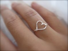 Mothers Day - Silver Heart Ring. $9.75, via Etsy.