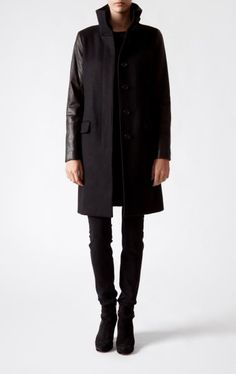 Closed AW 2011 wool coat with leather sleeves.