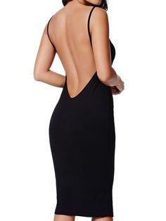 Black Open Back Cami Bodycon Midi Dress