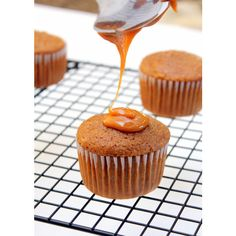 Caramel Apple Cupcakes<3 ❤ liked on Polyvore