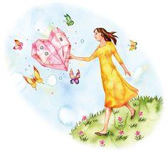 蝶と女のファンタジックなイラスト
