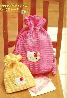 kity desenli pembe sarı örgü çocuk sırt çantası modeli