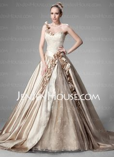 Wedding Dresses - $265.99 - Ball-Gown Sweetheart Cathedral Train Satin  Lace Wedding Dresses With Ruffle  Beadwork (002004515) http://jenjenhouse.com/Ball-gown-Sweetheart-Cathedral-Train-Satin--Lace-Wedding-Dresses-With-Ruffle--Beadwork-002004515-g4515