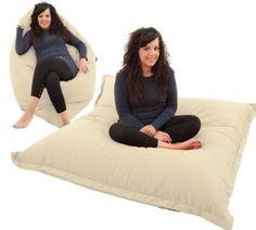 RAVIOLI GIANT - NATURAL / CREAM Bean Bag Chair Indoor / Outdoor Beanbag Floor Cushion