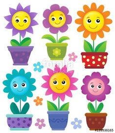 Flowerpots with smiling flowers set 2017 Batch 2 (Flowers) Owl Crafts, Preschool Crafts, Art For Kids, Crafts For Kids, Arts And Crafts, Classroom Calendar, Easy Canvas Painting, Cute Notes, School Decorations
