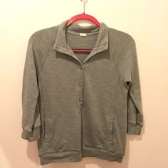 Gray J. Crew Pullover Only worn once or twice. From J. Crew a few years ago. Has front pockets and 5 buttons J. Crew Jackets & Coats