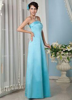 Sky Blue A-line Strapless Floor Length Satin Bridesmaid Dress - Party Dresses