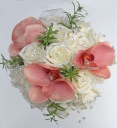 Bridesmaids Artificial Ivory Diamante Rose, Crystal and silk Pink Orchid Wedding Posy Bouquet