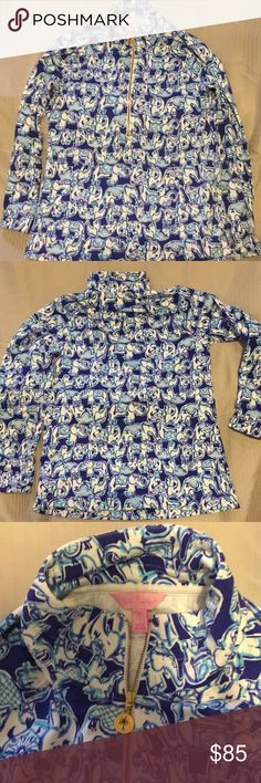 Lilly Pulitzer pop over size S Gorgeous like-new Lilly Pulitzer pop-over in blue and white elephant print. Size Small. Never dried. Non-smoker. Lilly Pulitzer Tops Sweatshirts & Hoodies