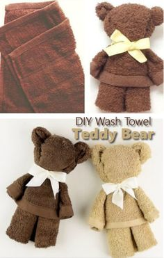 How To Make A Teddy Bear - from a towel (no cutting or sewing)... #diy #homestead #homesteading