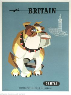 Original Travel Poster Qantas Britain Bulldog Harry Rogers c1960s Westminster UK #Vintage