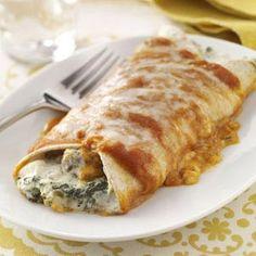 Artichoke & Spinach Enchiladas Recipe from Taste of Home -- shared by Joan Kollars of Norfolk Nebraska