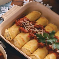 "Cheesy Manicotti Crepes...pinner says ""made this last night for dinner and the crepes made it taste just like a restaurant.  Never again will I use noodles for maniccoti!"""