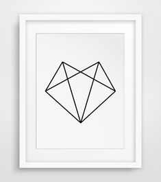 Fox Head Geometric Fox Fox Art Black and par MelindaWoodDesigns