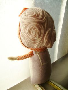 Custom Classic Cloth Doll with Sculpted Bamboo Yarn Hair by Mend. $60.00, via Etsy.