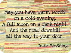 Irish Blessing...for the back of an Irish quilt