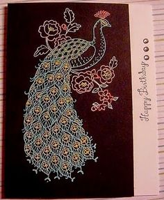 Stampin' Up! handmade birthday card from Stamp & Scrap with Frenchie . peacock image embossed in white on dark paper . lines colored with Blendies . great lacy look . Bird Cards, Butterfly Cards, Perfect Peacock, Peacock Images, Making Greeting Cards, Love Stamps, Colouring Techniques, Handmade Birthday Cards, Stamping Up