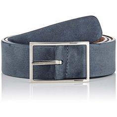 Simonnot Godard Men's Nubuck Belt ($230) ❤ liked on Polyvore featuring men's fashion, men's accessories, men's belts, grey, mens leather belts, mens gray leather belt, mens genuine leather belts and mens grey belt