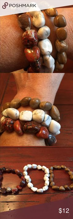 Set of three stone stretch bracelets. Very pretty set of three stretch stone bracelets. Can be worn separately or together I personally would wear them all together. Jewelry Bracelets