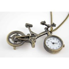 bike bicycle necklace pocket watch pendant charm vintage antique brass ($2.99) ❤ liked on Polyvore