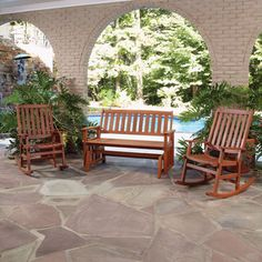 Bali Hai Outdoor Glider Bench and Two Rocking Chairs