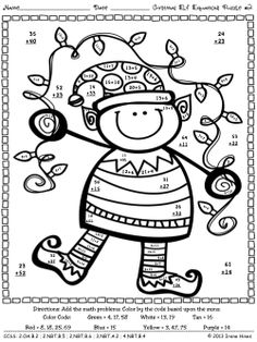 Christmas Elf Equations Addition Math Printables Color By The Code Puzzles